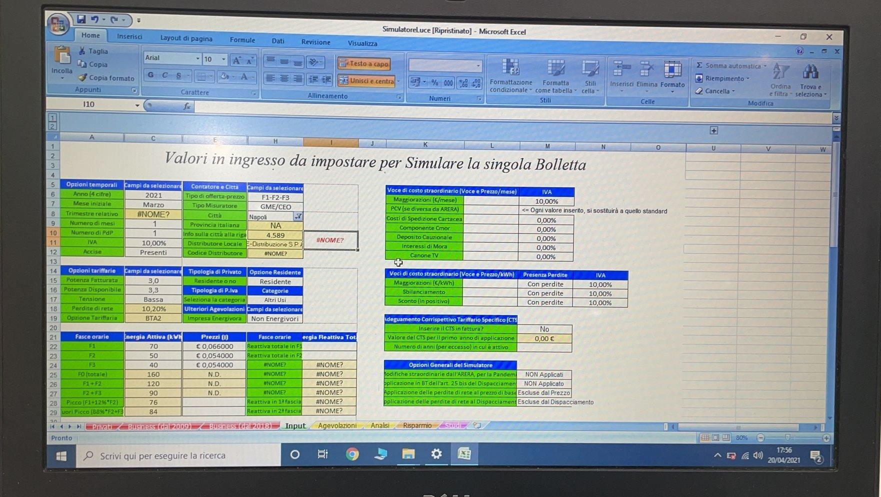 Simulatore con Excel vecchio